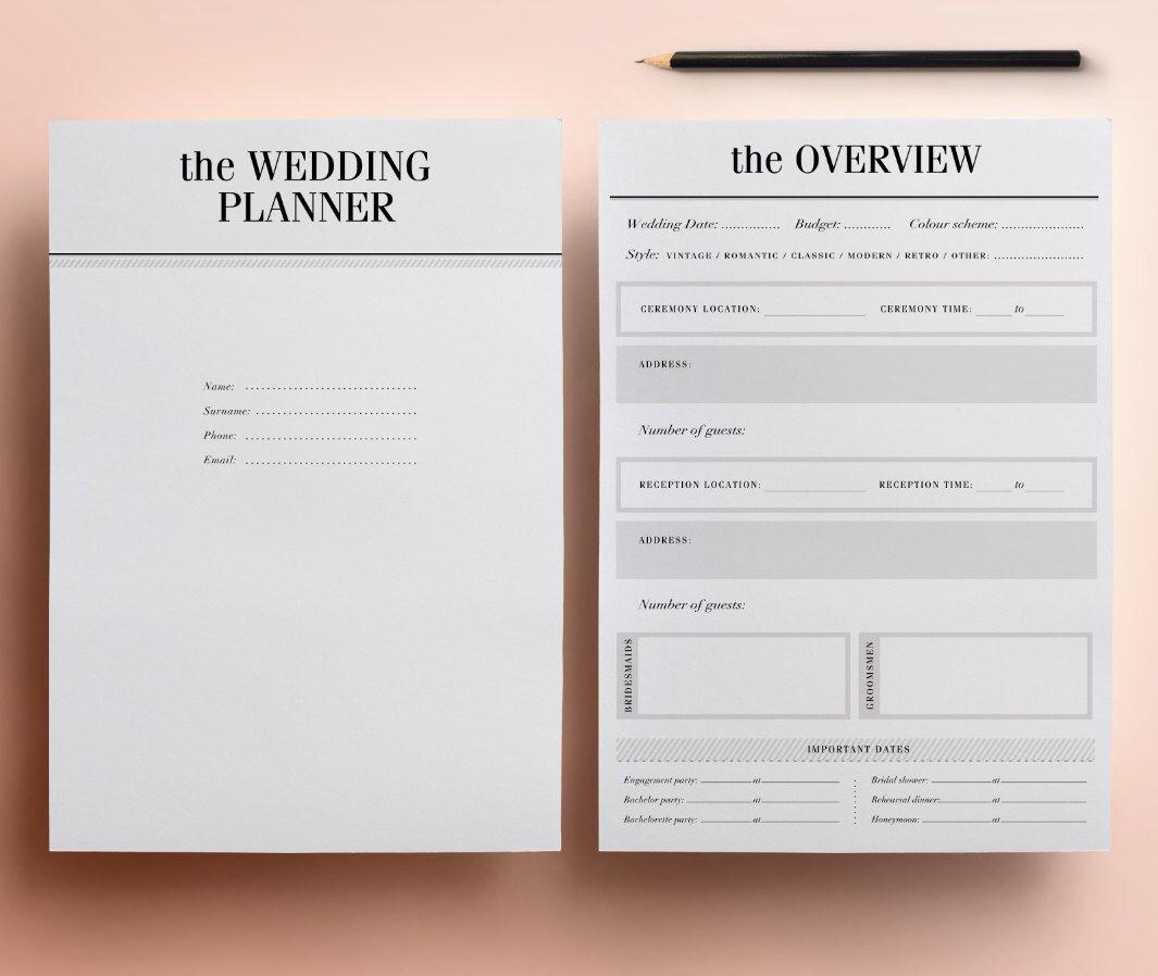Wedding Planner Printable Ultimate Planning Kit 37 Modern Organizer Pages Checklist