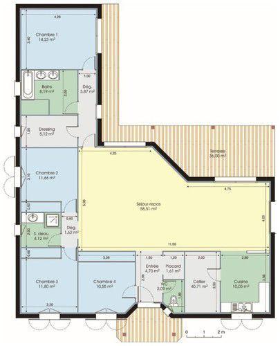 Bungalow de luxe Bungalow - maison contemporaine plan gratuit