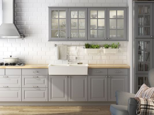 Ikea Sektion Kitchen Cabinets Pleasing Awkward Spaces Turned Functional  Subway Tiles Kitchens And Gray Decorating Inspiration