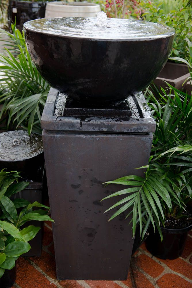 GRC Outdoor Garden Water Feature Tall ZEN Bowl Fountain Charcoal Black  Stone | EBay