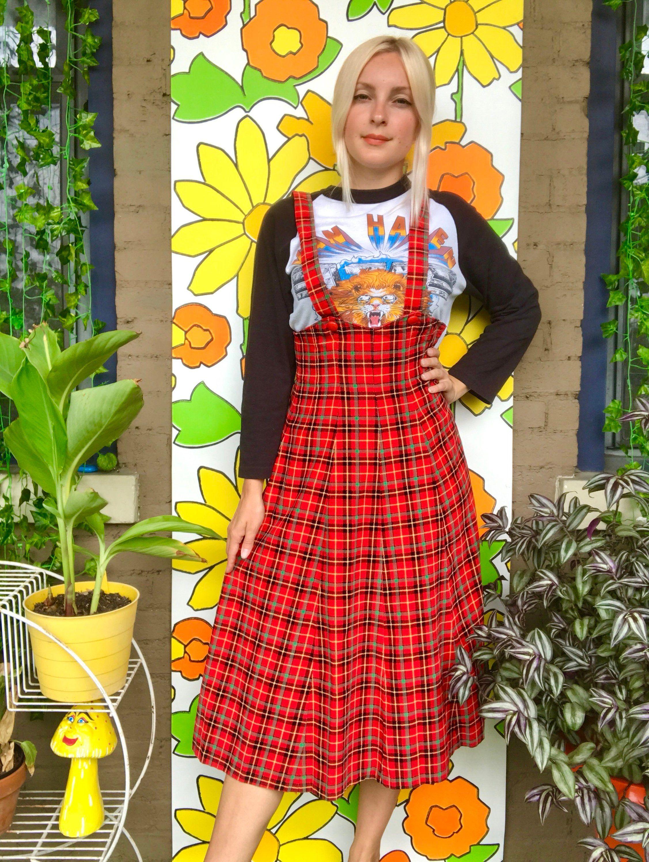 6ce0ed462 Vintage 1960s plaid pinafore dress corduroy tartan retro 60s 70s jumper  dress red plaid overall dress midi skirt XXS/XS 24