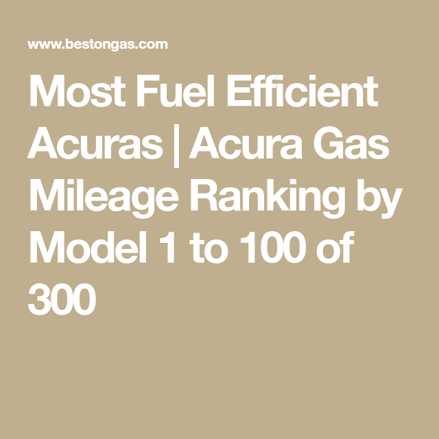 Acura Gas Mileage Ranking By