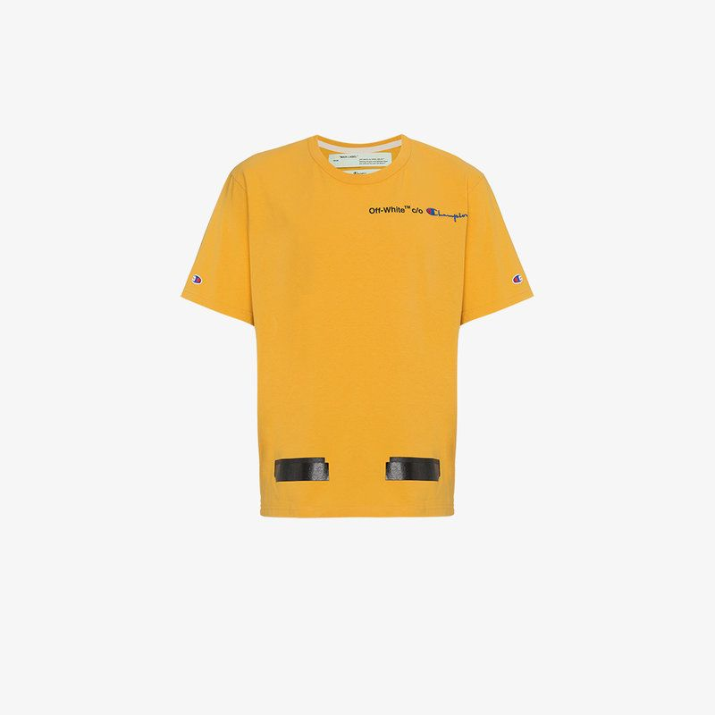 Off White Yellow Champion Reverse Weave Edition T Shirt Modesens Yellow T Shirt Champion Reverse Weave T Shirt