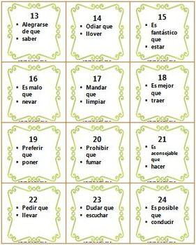 Spanish Present Subjunctive Task Cards Task Cards Cards Task
