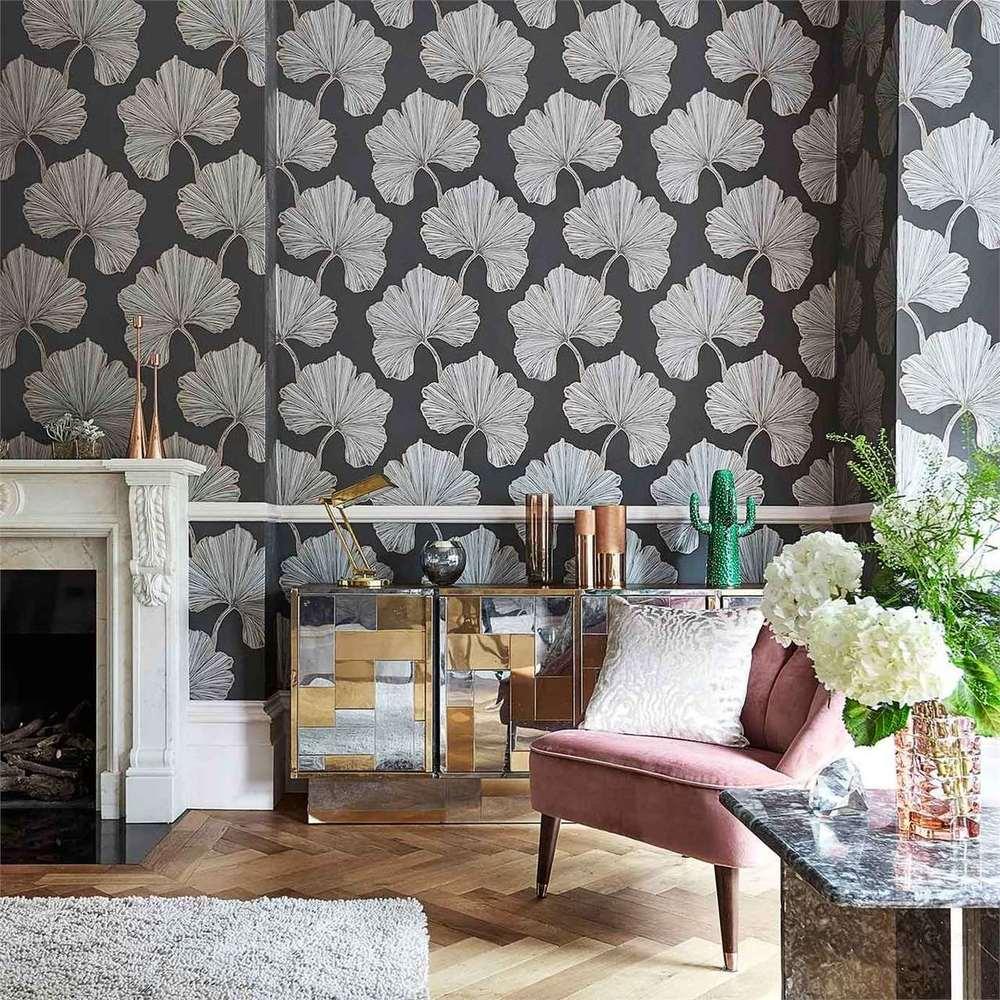 Azurea Ebony Rose Gold Interior Wallpaper Rose
