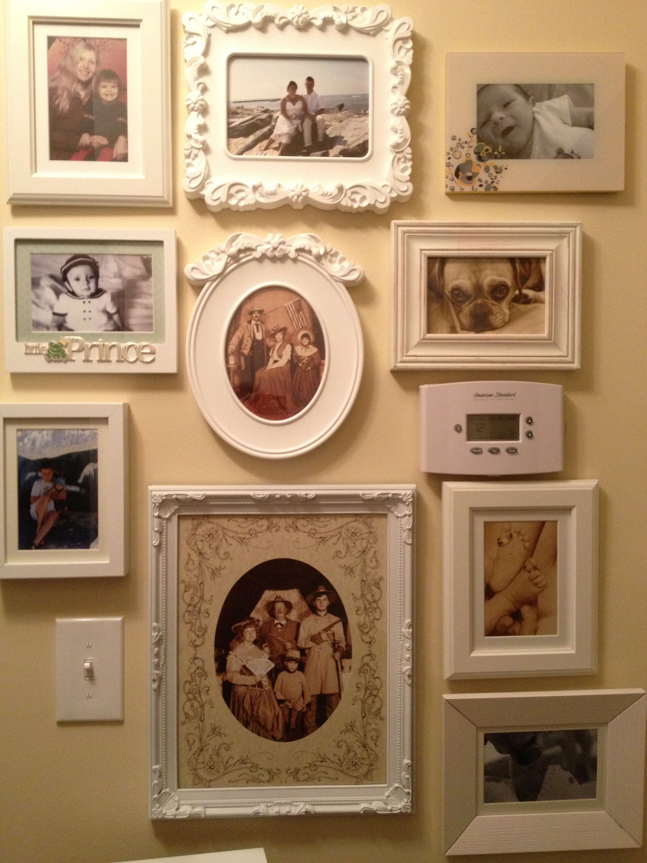 Pictures in the downstairs Hallway, picture frames vary from Ikea ...