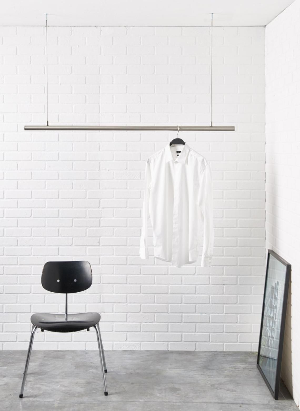 Airjust Solo Hanging Cloth Rack Ceiling Mounted Hight Adjustable Stainless Steel Width From 80 Cm In 2020 Hanging Clothes Racks Hanging Clothes Clothes Rail