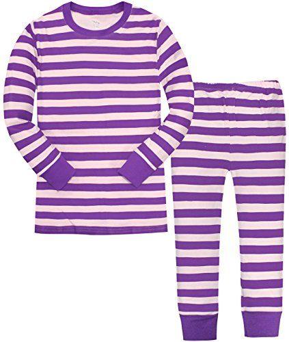 Sheliy-Girls Little Girls Striped Pajamas Christmas Children PJs
