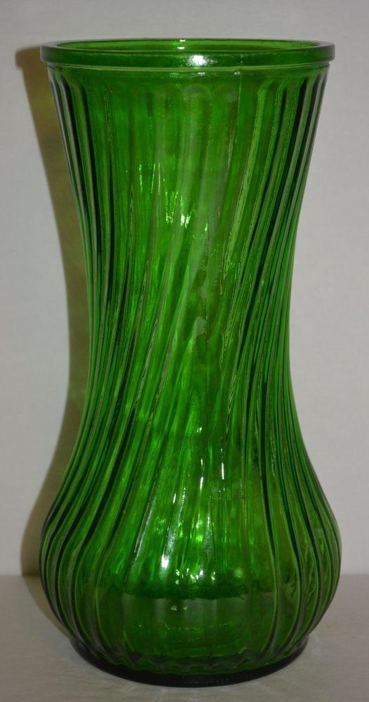 Vintage Green Emerald Glass Hoosier Flower Vase Swirl Ribbed