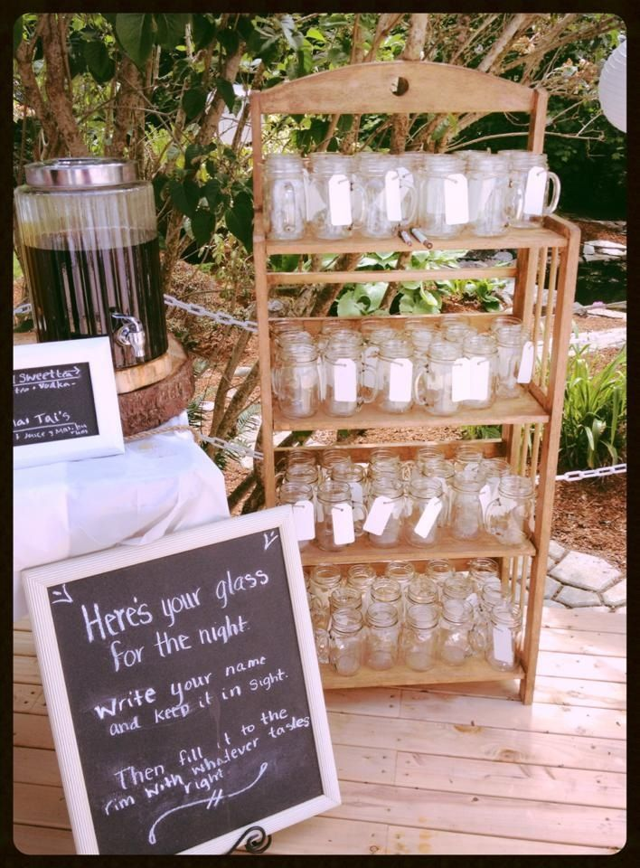 Mason jars with tags for names at our wedding. Love this! But would probably make a separate section for kids jars wit h lids on them.