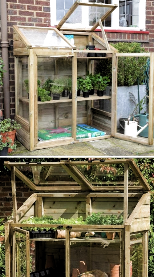 Mini Wooden Greenhouse Perfect For Small Garden Spaces This Small Greenhouse Is Compact And Ideal Fo In 2020 Wooden Greenhouses Diy Greenhouse Greenhouse Vegetables