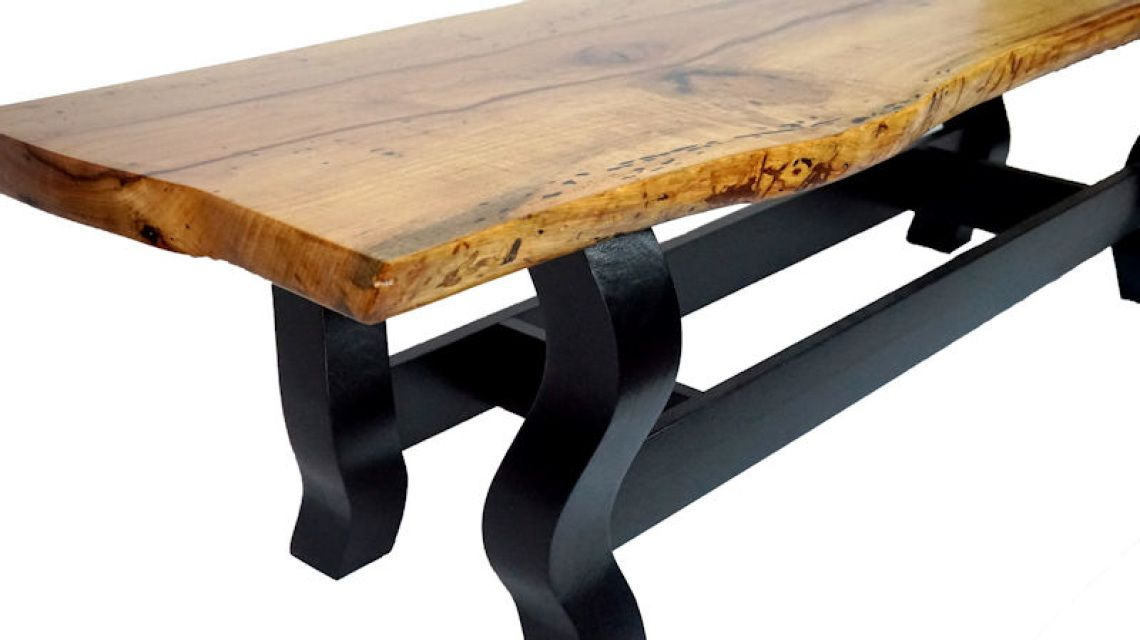 Pecan slab table this one of a kind live edge table is for Finishing live edge wood