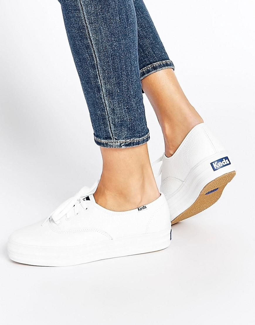 Buy Women Shoes / Keds Champion White Triple Leather Flatform Trainers