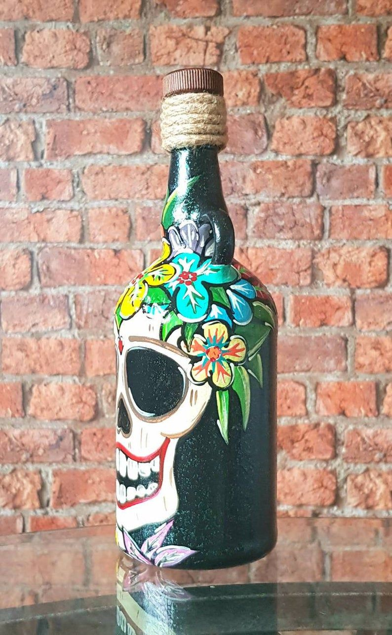 Mexican day of the dead sugar skull hand painted kraken