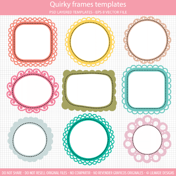 quirky frames clipart templates set comes with nine fun frames cliparts that you