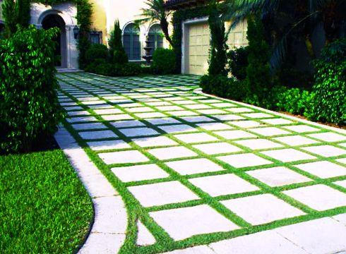 Eco Friendly Driveway Grass Amp Concrete Pattern Paving