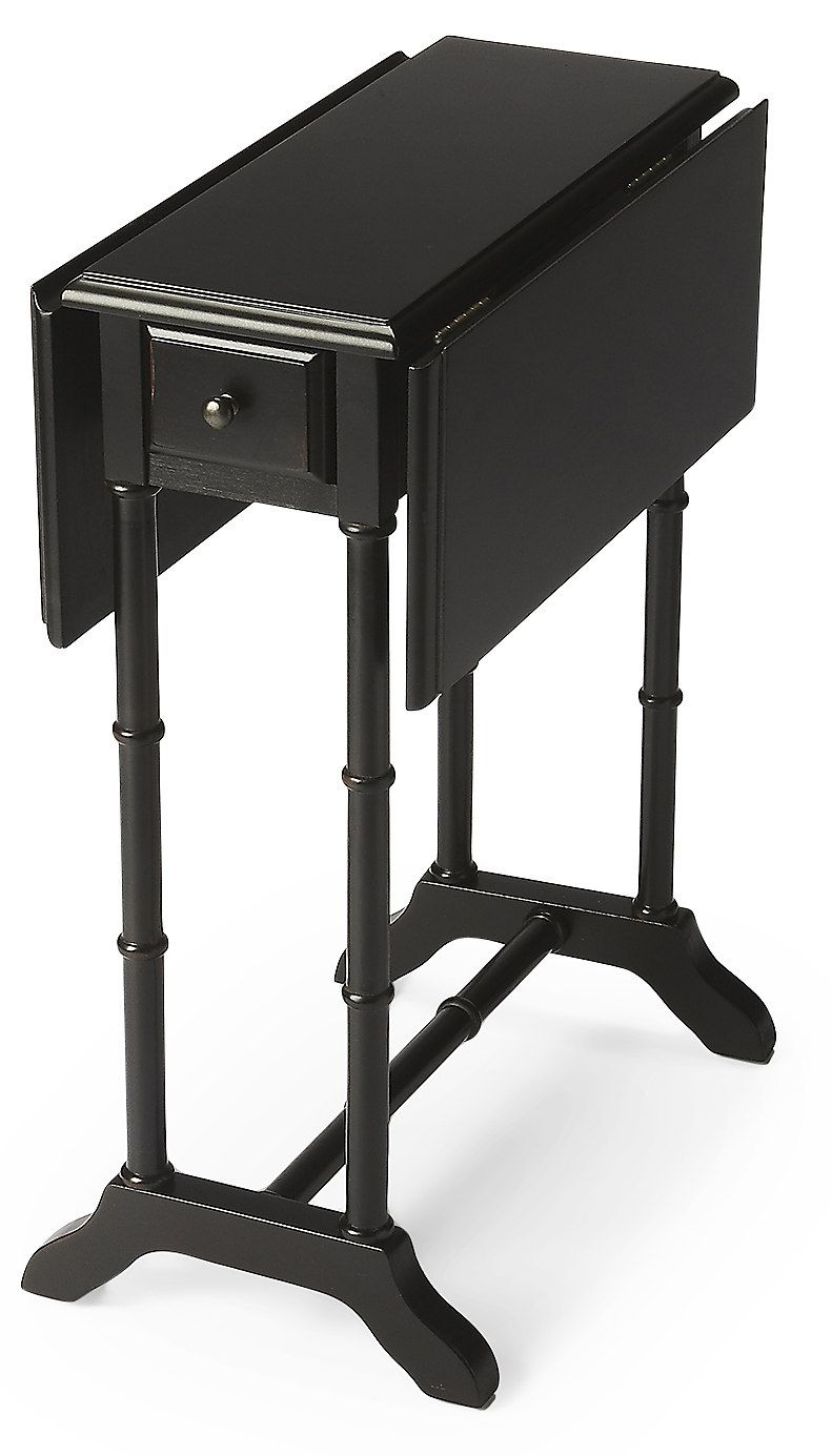 Georgia Drop Leaf Side Table, Black | One Kings Lane