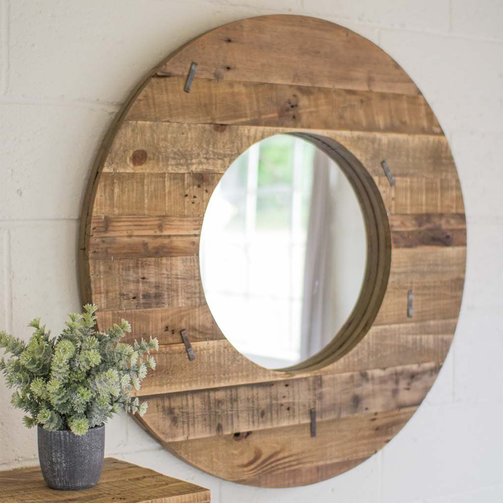Rustic Round Barn Mirror Mirrors Made Of Wood Circle
