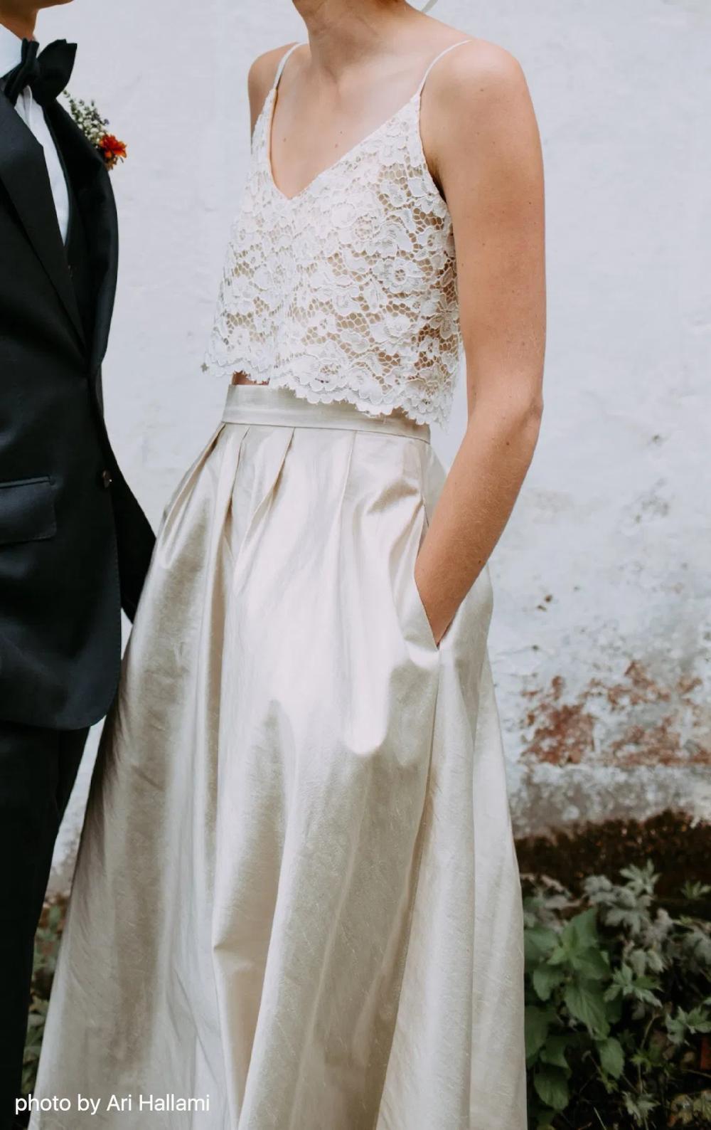 Lace bridal crop top wedding crop top bridal separates two