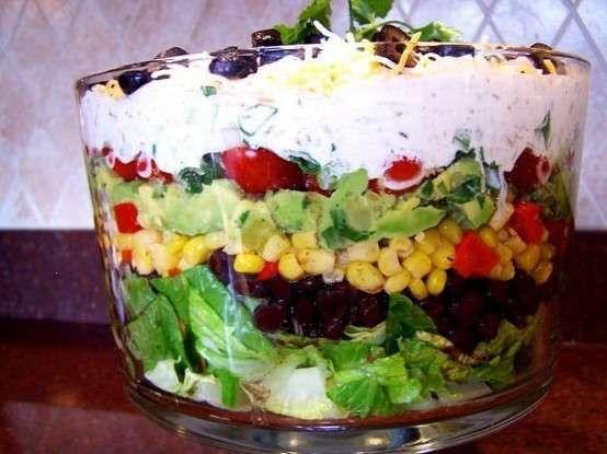 Seven Layer Salad Tex Mex Style. | salad | Pinterest