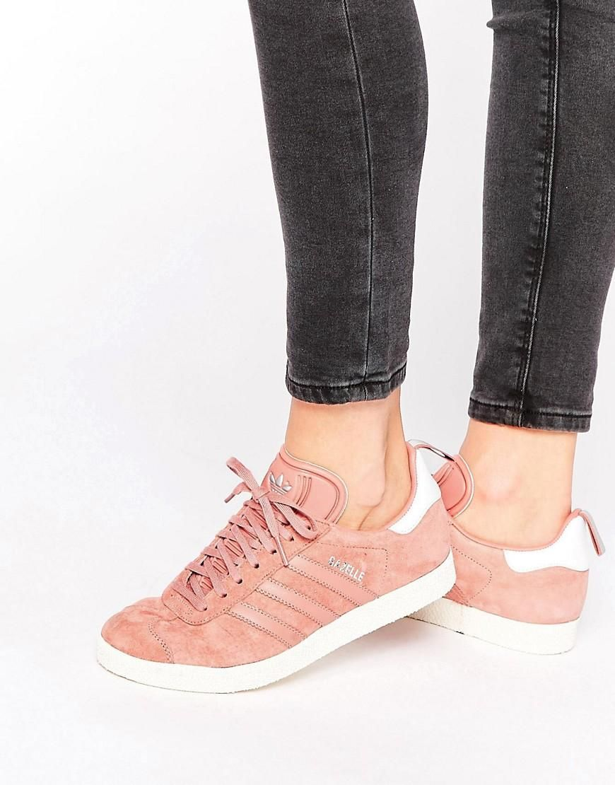 adidas Originals Dusky Pink Ponyskin Gazelle Trainers at asos.com