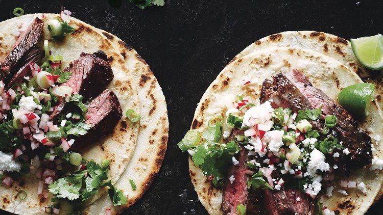 Steak Tacos With Cilantro Radish Salsa Recipe In 2019 Steak Tacos Tacos Salsa Recipe