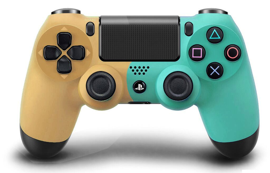 Custom PS4 controller Wireless Glossy half Green Beige and Half ...