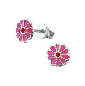 Baby and Children's Earrings:  Sterling Silver, Petite Pink Flower Earrings
