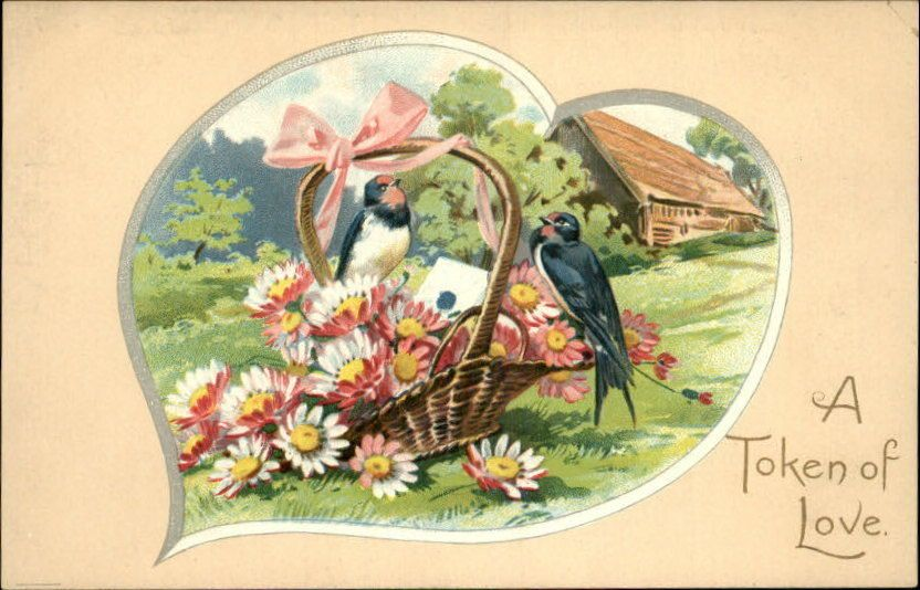 Tuck Love Missives Birds Flowers Basket Embossed Greeting c1910 Postcard