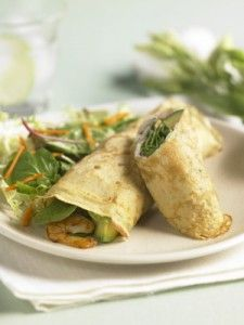 Crepes Filled with Shrimp, Spinach and Avocado