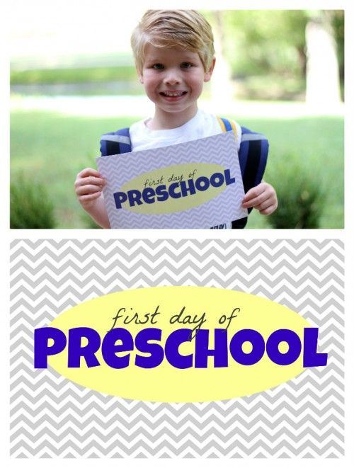 """great for 1st day of school picture: Free """"First Day of School"""" Printables"""