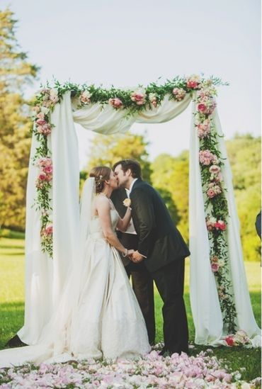 Wedding Altar D With White Cloth And Garland Of Fresh Peonies