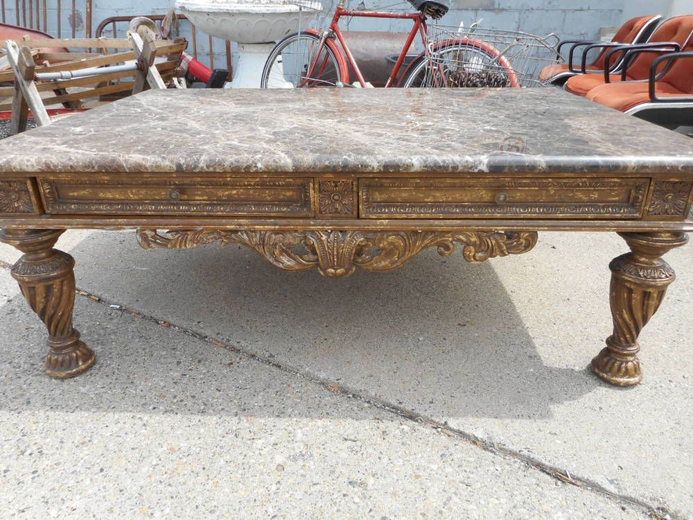 Very Large Granite Top Coffee Table W Detailed Gold Base