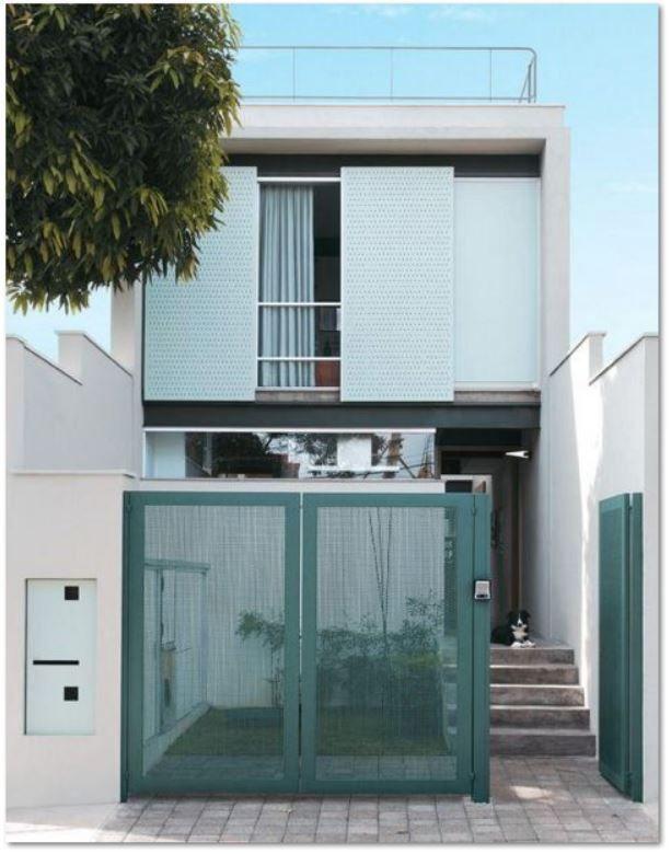 fachada-minimalista-entre-medianeras Casas Minimalistas Exterior - casas minimalistas