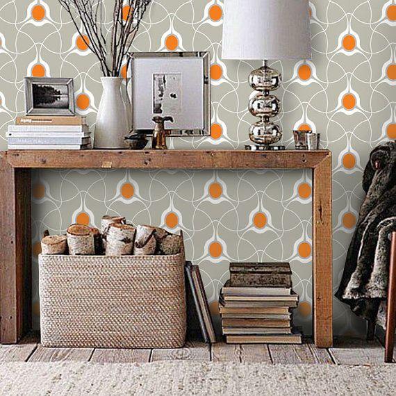 Modern Stylish Pattern Sand Beige and Orange PEEL & STICK
