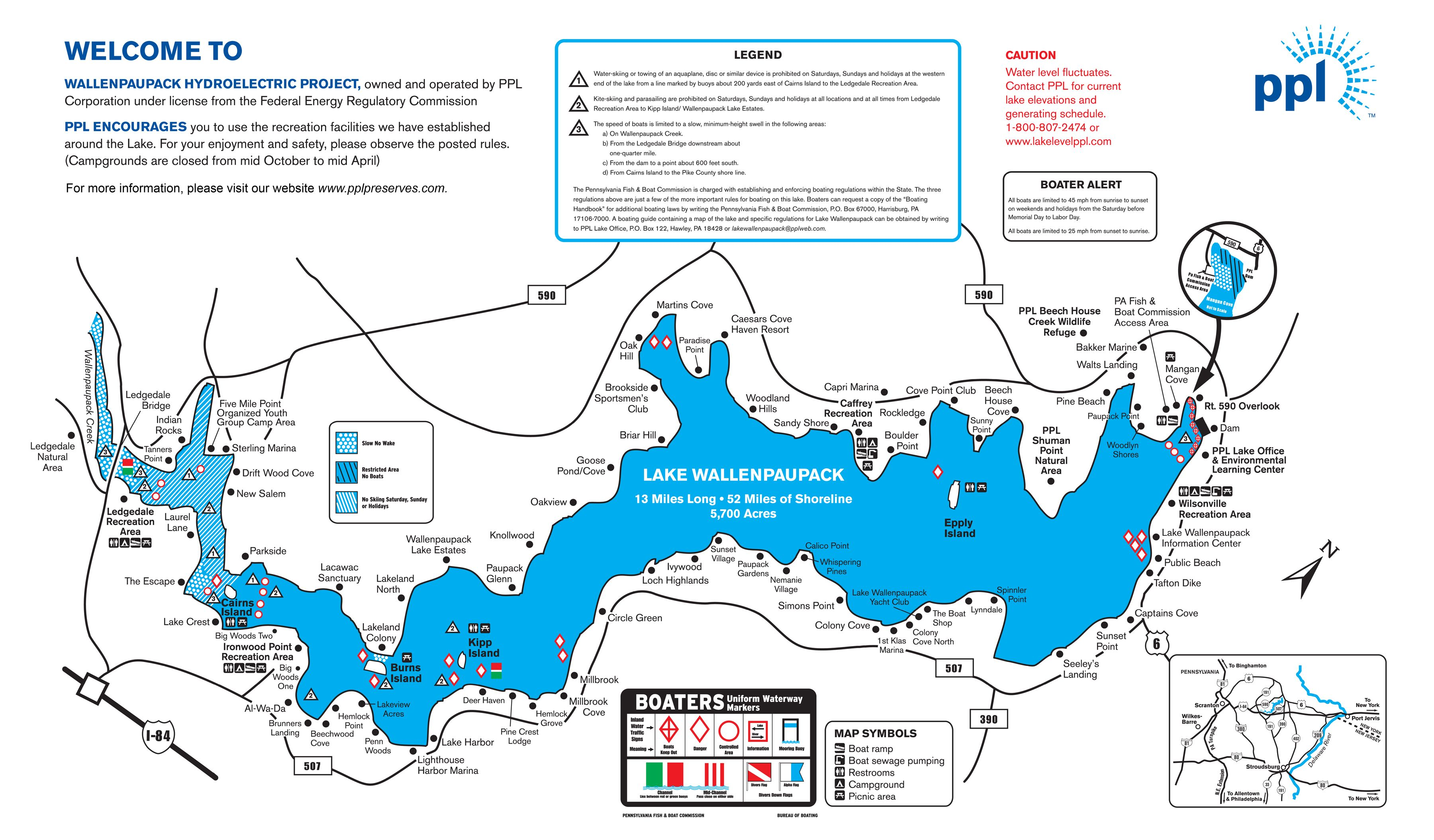 Lake Wallenpaupack Pennsylvania fishing guide map httpwww