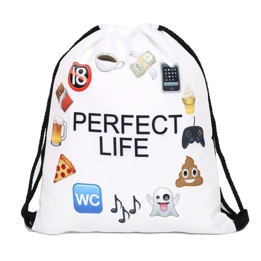 Perfect Life - Emoji Drawstring Backpack - Ultra Premium Quality