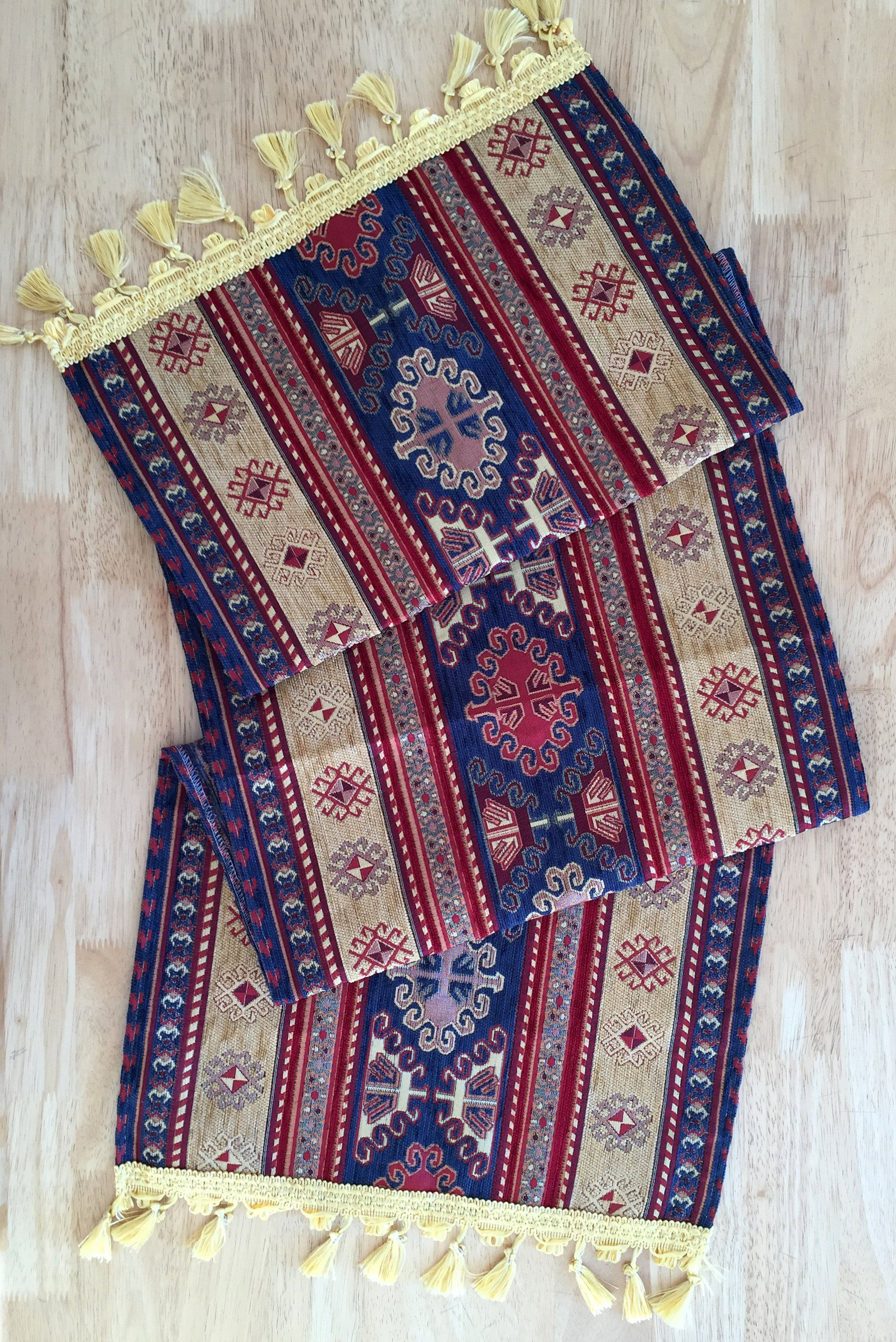 Kilim Patterned Table Runner, NavyBeige Striped, With