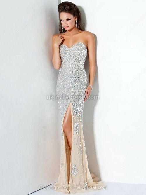 Trumpet/Mermaid Sweetheart Chiffon Sweep Train Beading Prom Dresses