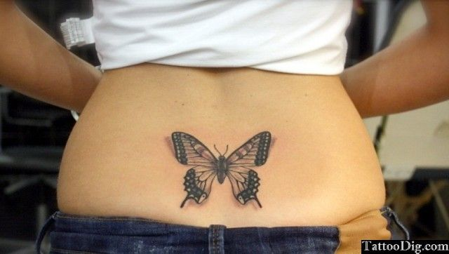 3d Butterfly Lower Back Tattoo Pictures Photos Pics Images