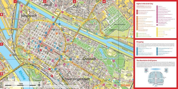 Mannheim tourist attractions map Maps Pinterest Mannheim and City