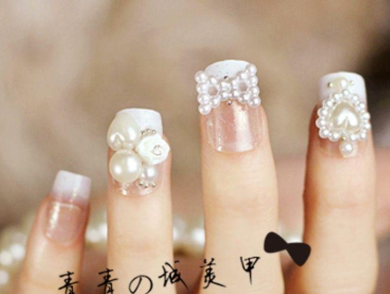 Pearl Nails Nail Art Ideas Designs White