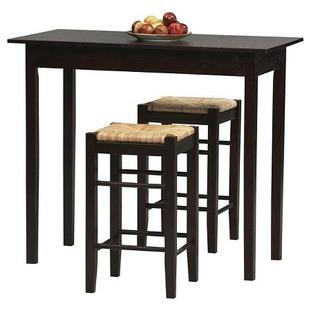 3 Piece Counter Height Table Set Wood Brown Linon Home Décor