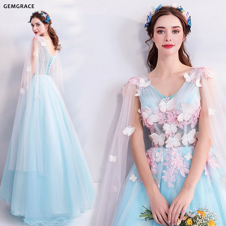 500b1c2e20 Fairy Butterfly Blue Formal Long Prom Dress With Petals Cape ...