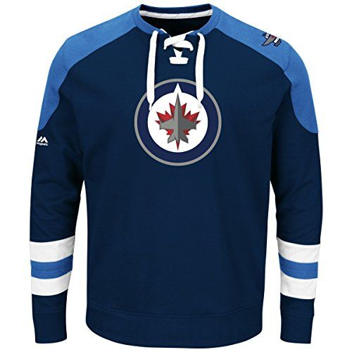 NHL Winnipeg Jets Men's Centre Long Sleeve Crew Neck Pullover Sweatshirt,  XX-Large, Athletic Navy/Blue/White