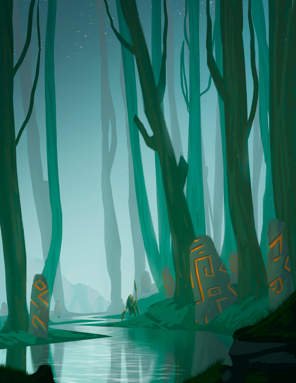 Forest Background Drawing : forest, background, drawing, ArtStation, Forest,, Geussens, Fantasy, Landscapes,, Forest, Illustration