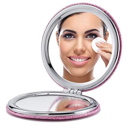 OMIRO Compact Mirror, Round Glitter PU 1X/3X Magnification