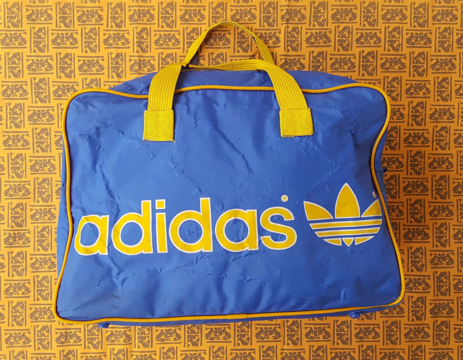 9814ba85e1 80's Adidas Trefoil Blue and Yellow Duffel Bag / Rare / Unisex / West  Germany / Vintage / Gym / Sports Memorabilia by NEONPOINT on Etsy
