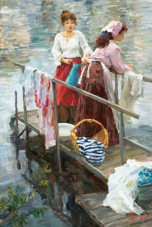 Color Theory Therapy| pinned by Serafini Amelia| ✿Washing Day✿ Vladimir Gusev, 1957 - On the river, Laudresses