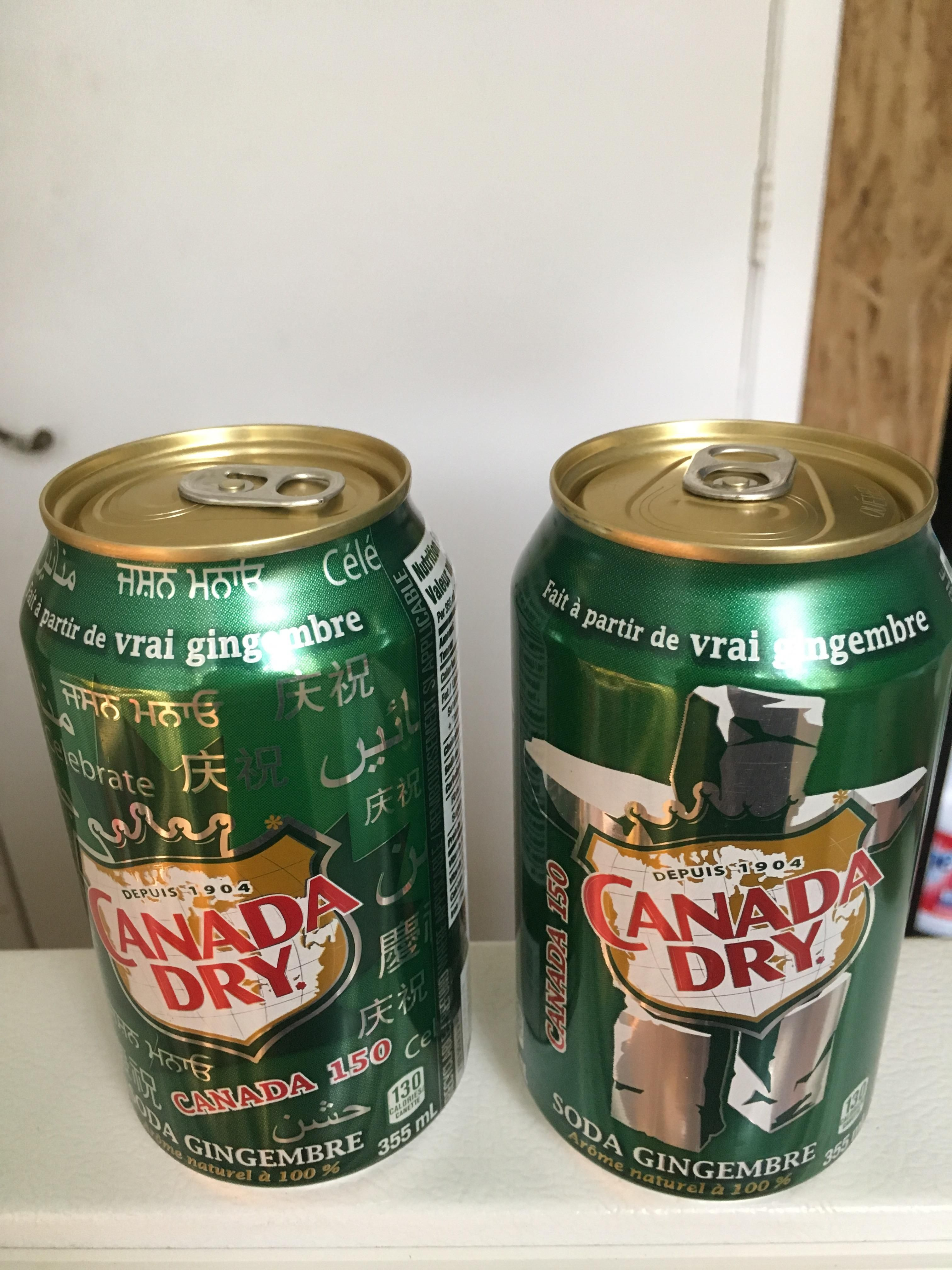 These Canada Dry Ginger Ale Soda Cans Celebrating Canadas 150